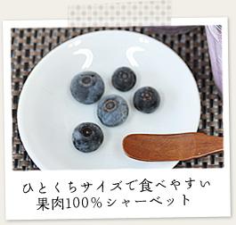 ひとくちサイズで食べやすい果肉100%のシャーベット